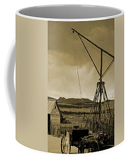 Old Crane And Shed Utah Countryside In Sepia Coffee Mug