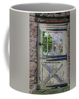 Coffee Mug featuring the photograph Old Door From Bridgetown Millhouse Bucks County Pa by Bill Cannon