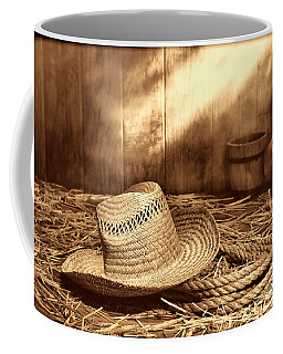 Old Farmer Hat And Rope Coffee Mug