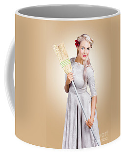 Old Fashion Woman Spring Cleaning With Broom Coffee Mug