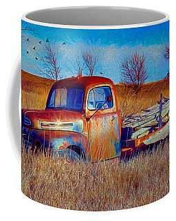 Old Ford F5 Truck Abandoned In Field Coffee Mug