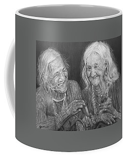 Coffee Mug featuring the drawing Old Friends, Smokin' And Jokin' by Quwatha Valentine