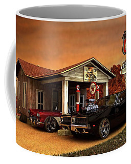 Coffee Mug featuring the photograph Old Gas Station American Muscle by Louis Ferreira