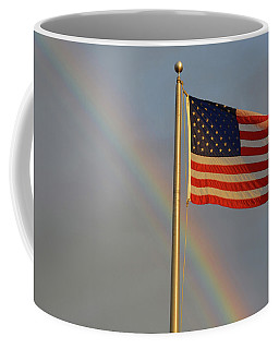 Old Glory And Rainbow Coffee Mug