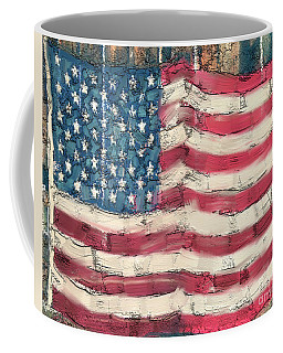 Coffee Mug featuring the painting Old Glory by Carrie Joy Byrnes