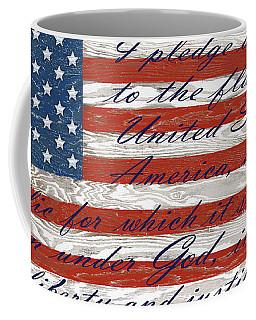 Old Glory On Wood-pledge Of Allegiance Coffee Mug