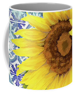 Coffee Mug featuring the painting Old Havana Sunflower - Cobalt Blue Tile Painted Over Wood by Audrey Jeanne Roberts