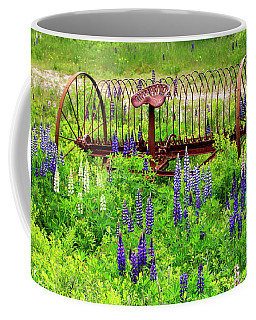 Old Hay Rake And Lupines Coffee Mug