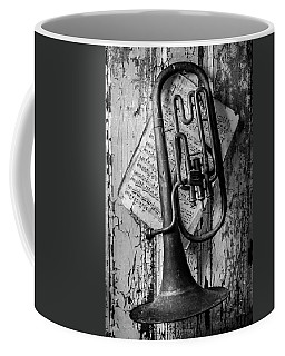 Old Horn In Black And White Coffee Mug