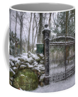 Old Iron Gate In Winter Coffee Mug by Joann Vitali