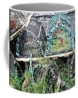 Coffee Mug featuring the photograph Old Lobster Pots by Stephanie Moore