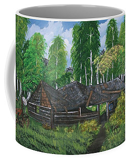 Coffee Mug featuring the painting Old Log Cabin And   Memories by Sharon Duguay