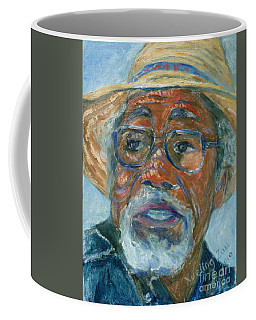 Coffee Mug featuring the painting Old Man Wearing A Hat by Xueling Zou