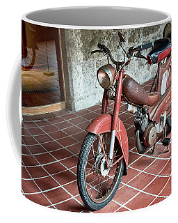 Coffee Mug featuring the photograph Old Motorcycle In The Monastery Of Santo Estevo De Ribas Del Sil by Eduardo Jose Accorinti