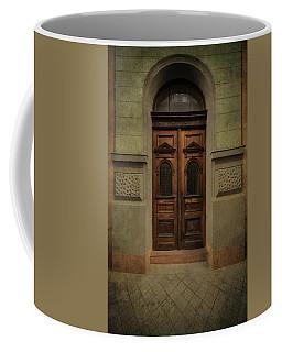 Old Ornamented Wooden Gate In Brown Tones Coffee Mug by Jaroslaw Blaminsky