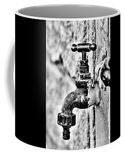 Old Outdoor Tap - Black And White Coffee Mug