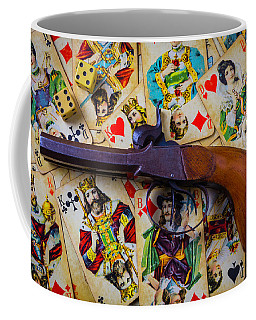 Old Pistol And Cards Coffee Mug