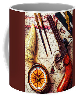 Old Pistol With Compass On Map Coffee Mug