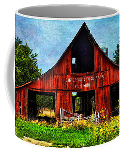 Old Red Barn And Wild Sunflowers Coffee Mug