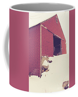 Old Red Barn In Winter Coffee Mug by Edward Fielding