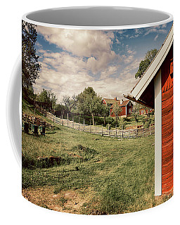 Old Red Farm Set In A Rural Nature Landscape Coffee Mug