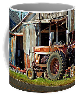 Old Red Tractor And The Barn Coffee Mug