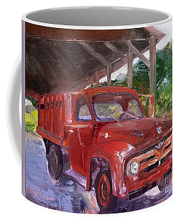 Coffee Mug featuring the painting Old Red Truck - Mountain Valley Farms - Ellijay by Jan Dappen