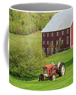 Old Red Vintage Ford Tractor On A Farm In Enfield Nh Coffee Mug