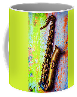 Old Sax On Worn Table Coffee Mug