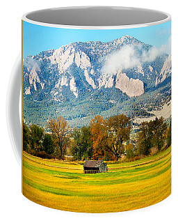 old shed against Flatirons Coffee Mug