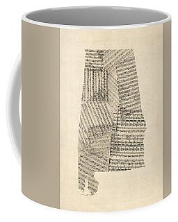 Old Sheet Music Map Of Alabama Coffee Mug