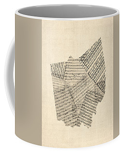 Old Sheet Music Map Of Ohio Coffee Mug