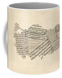 Old Sheet Music Map Of Turkey Map Coffee Mug
