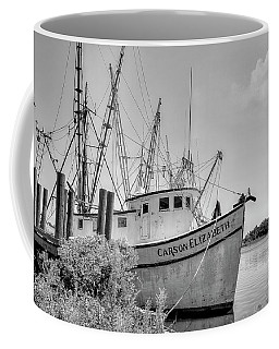 Old Shrimp Boat Black And White Coffee Mug
