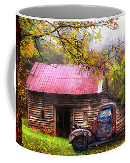 Coffee Mug featuring the photograph Old Smoky Truck And Barn by Debra and Dave Vanderlaan