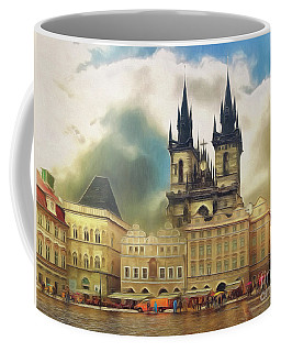 Old Town Square Prague In The Rain Coffee Mug