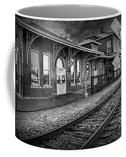 Old Train Station With Crossing Sign In Black And White Coffee Mug