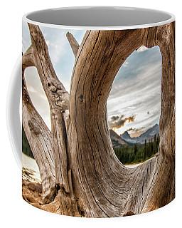 Old Tree Stump Frames The Rocky Mountains Coffee Mug