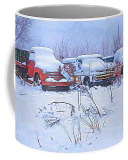 Old Trucks In Snow Coffee Mug