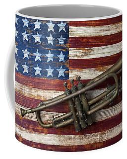Old Trumpet On American Flag Coffee Mug by Garry Gay
