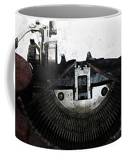 Old Typewriter Machine In Grunge Style Coffee Mug by Michal Boubin