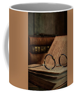 Old Vintage Books With Reading Glasses Coffee Mug
