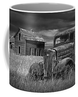 Old Vintage Pickup In Black And White By An Abandoned Farm House Coffee Mug