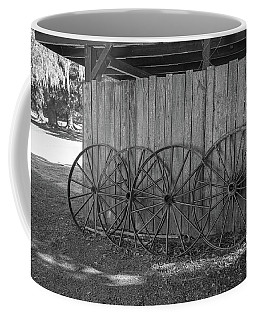 Old Wagon Wheels Black And White Coffee Mug