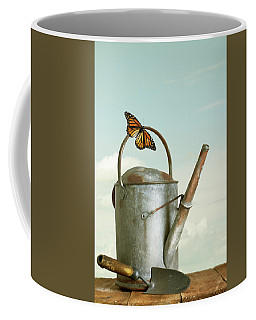 Old Watering Can With A Butterfly Coffee Mug
