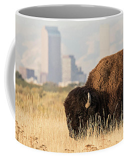 Old West Bison In Front Of New West City Coffee Mug