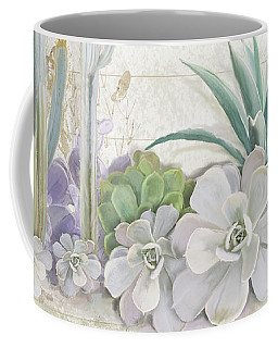 Coffee Mug featuring the painting Old West Cactus Garden W Deer Skull N Succulents Over Wood by Audrey Jeanne Roberts