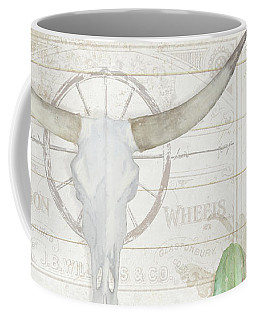 Coffee Mug featuring the painting Old West Cactus Garden W Longhorn Cow Skull N Succulents Over Wood by Audrey Jeanne Roberts