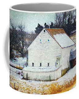 Old White Barn In Snow Coffee Mug