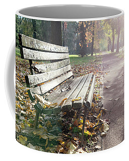 Rustic Wooden Bench During Late Autumn Season On Bright Day Coffee Mug